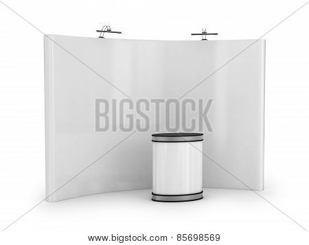 White blank trade show booth isolated on white background. poster