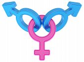 Female and two male gender symbols chained together on white background. High resolution 3D image poster