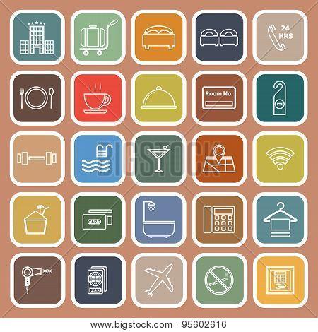 Hotel Line Flat Icons On Orange Background
