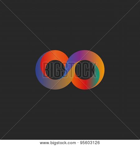 Infinity symbol geometric shape colorful illusion mockup tech logo poster