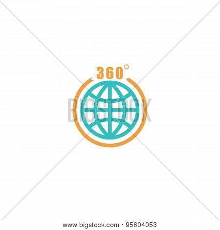 Travel Circle Mockup Logo, Globe Arrow With 360 Degrees, Tourism Icon
