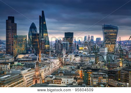 panoramic view City of London at sunset