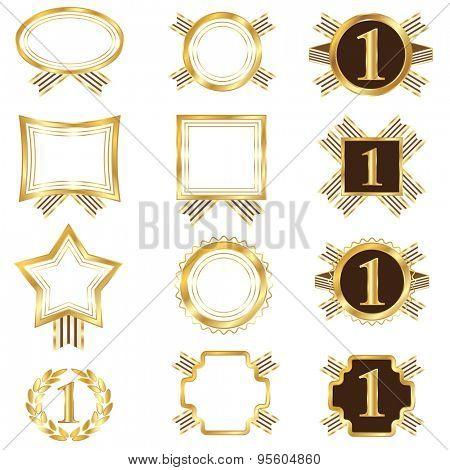 Set of golden frames.