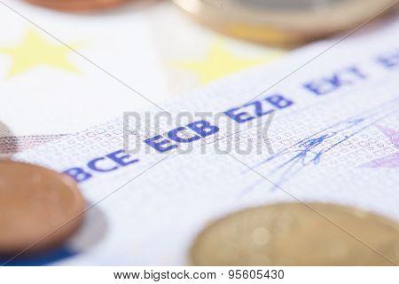Euro Closeup On Ecb Abbreviation