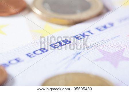 Euro Closeup On German Ezb Abbreviation