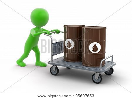 Man and Handtruck with Oil Drums (clipping path included)