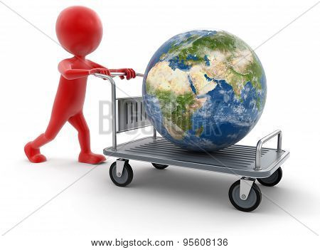 Man and Handtruck with Globe (clipping path included)