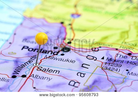 Salem pinned on a map of USA