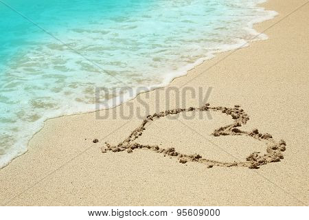 Heart In The Sand On The Beach
