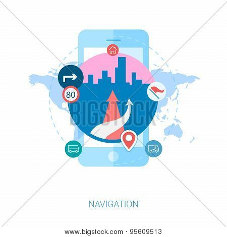 Road navigation in the city on smartphone flat icons illustration