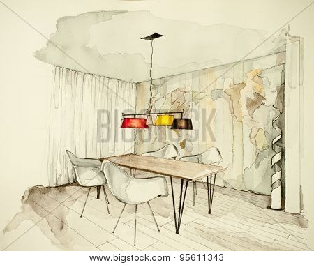 Watercolor and ink freehand sketch drawing of apartment flat dining room