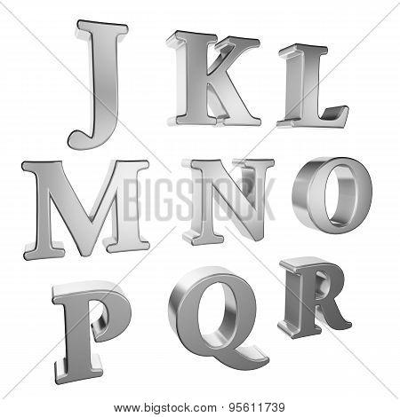 Silver alphabet J to R