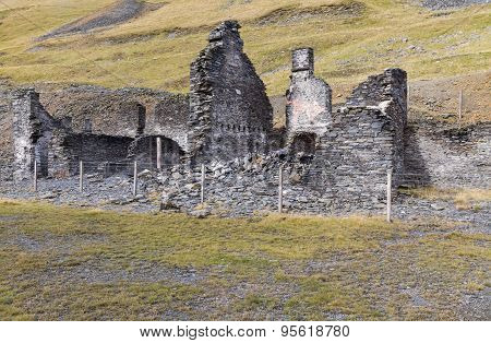 Ruin in the valley of Cwmystwyth remains of lead mining. Ceredigion Wales United Kingdom Europe. poster