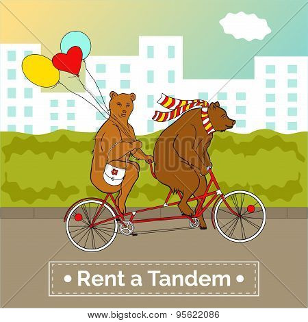 Couple on a tandem bicycle. Advertising for bike rental.