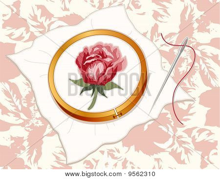Damask Rose Embroidery