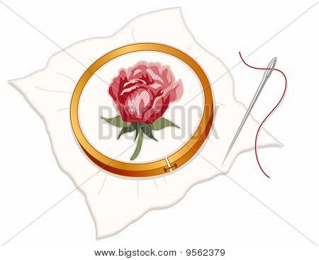Embroidery - Red Rose