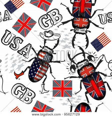 Vector Seamless Pattern With Bug Hipsters Colored In Gb And Usa Flags