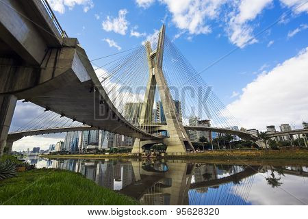 Octavio Frias De Oliveira Bridge, Or Ponte Estaiada, In Sao Paulo, Brazil