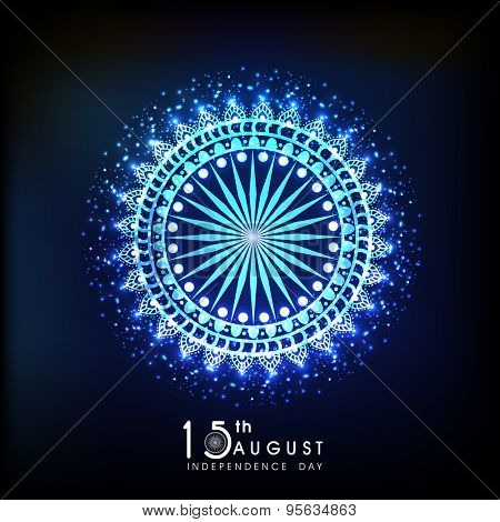 Blue floral design decorated shiny Ashoka Wheel for 15th August, Indian Independence Day celebration. poster