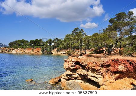 a view of the Mediterranean Sea and a calm scene in the northeastern coast of Ibiza Island, in the Balearic Islands, Spain
