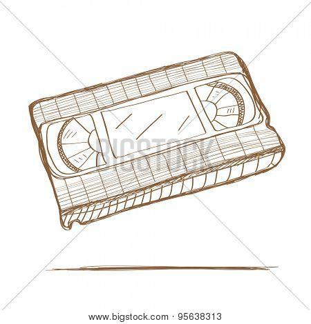 Hand drawn video tape. Vector illustration