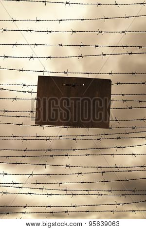 Barbed wire and prohibition Sign