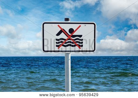 Prohibition Sign On The Baltic Sea