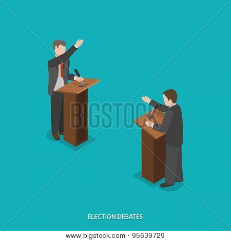 Election debates flat isometric vector.