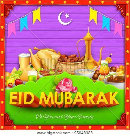 illustration of Eid Mubarak (Happy Eid) background desi style