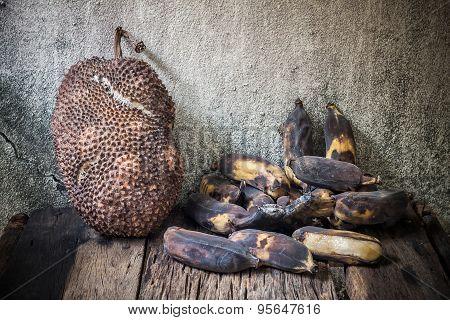 Rotten Jackfruit And Banana