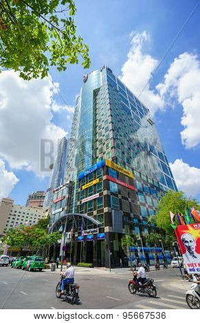 Ho Chi Minh City, Vietnam - May 27, 2015 : Nguyen Hue Pedestrian Street With Sunwah Tower View