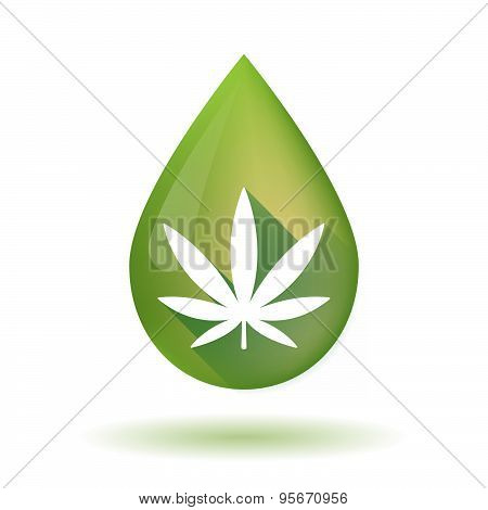 Olive Oil Drop Icon With A Marijuana Leaf