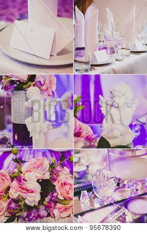 Collage collection of violet, purple wedding table decoration details