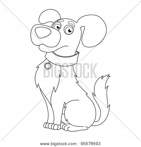 Cute dog, coloring book page for children