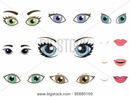 Set of different human eyes, eyebrows, noses and lips, cartoon girl face elements. Vector illustration poster