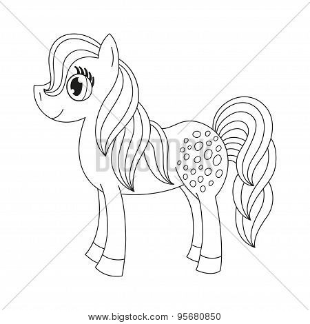Cute pony, coloring book page