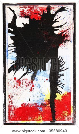 an abstract painting using various mediums including spray paint, watercolor, ink and shoe polish on a block of wood