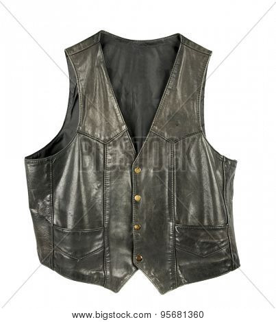 Leather biker jacket vest buttoned
