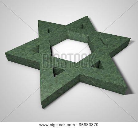 Stylized Image Star Of David Made Of Stone Malachite