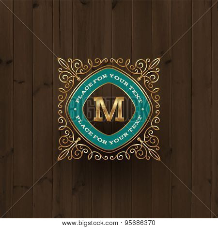Golden monogram logo template with flourishes elegant ornament elements on a vintage wooden background. Identity design with letter for cafe, shop, store, restaurant, boutique, hotel, fashion and etc.