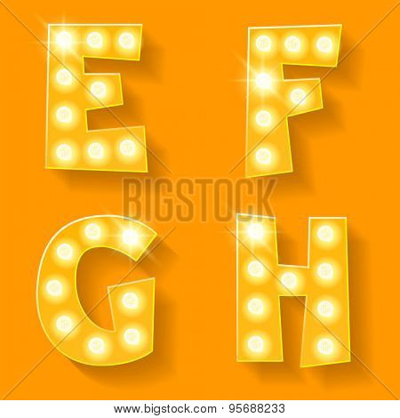 Vector yellow lamp alphabet for theatre, cinema and other entertainment. Letters E F G H