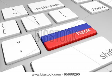 Russia hacking concept of a computer keyboard and a key painted with the Russian flag