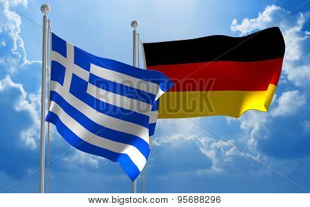 Greece and Germany flags flying together for diplomatic talks