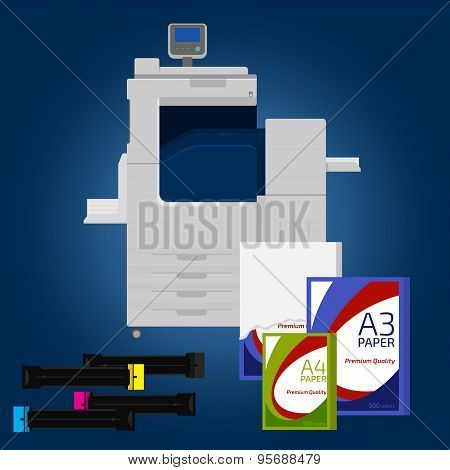Laser copier with paper. Cartridge and pack of paper poster