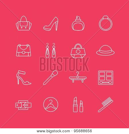 Womens clothes vector icons set. Cloth, girls and shop symbols. Stocks design elements.