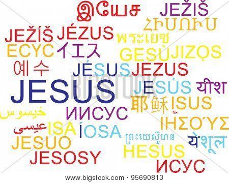 Background concept wordcloud multilanguage international many language illustration of Jesus