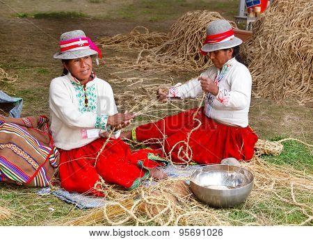 Peruvian Women Braiding Rope