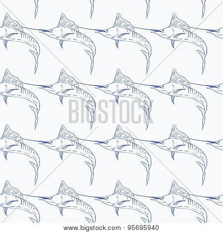Swordfish seamless vector pattern on white background
