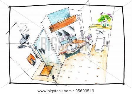 Bathroom Top View Drawing