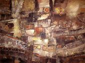 Acrylic colorful painting in old gold brown beige yellow and orange colors. Canvas. Grunge textured background. Abstract painting Noahs ark. Picture for the interior as part of wall decorations. poster